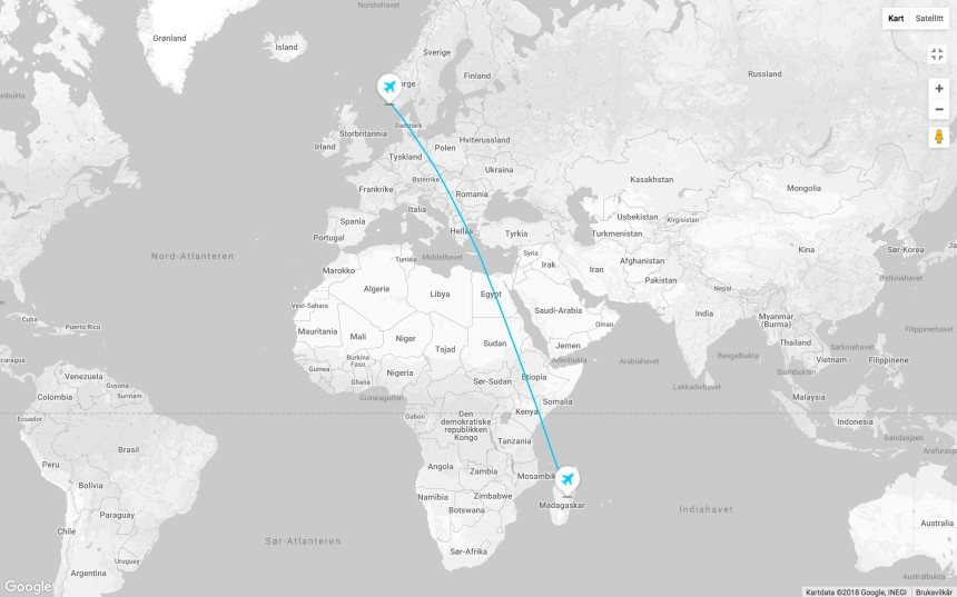 Reiserute fly Madagaskar