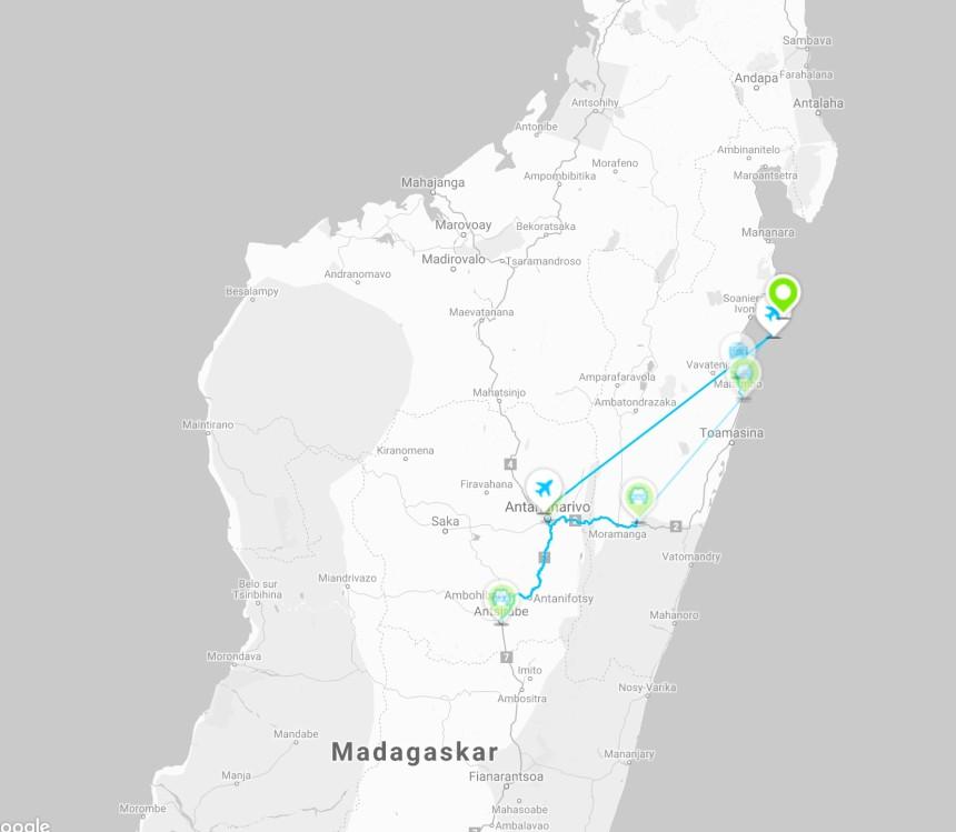 Reiserute rundtur Madagaskar